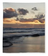 Sunrise At Bamburgh Beach Fleece Blanket