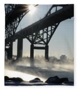 Sunrise Blue Water Bridges Fog Fleece Blanket