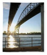 Sunrise Blue Water Bridges Fleece Blanket