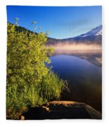 Sunrise Fog On Trillium Lake Fleece Blanket
