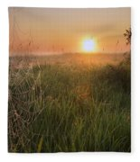Sunrise On A Dew-covered Cattle Pasture Fleece Blanket