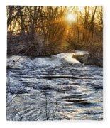 Sunrise On The St Vrain River Fleece Blanket