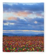 Sunrise Over A Tulip Field At Wooden Fleece Blanket