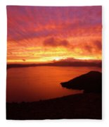 Sunrise Over Crater Lake Fleece Blanket