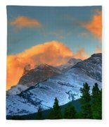 Sunrise Over Crowsnest Pass, Border Fleece Blanket