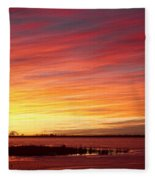 Sunrise Over Union Reservoir In Longmont Colorado Boulder County Fleece Blanket