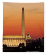 Sunrise Over Washington Dc Fleece Blanket