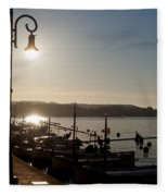 sunrise - First dawn of a spanish town is Es Castell Menorca sun is a special lamp Fleece Blanket