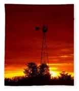 Sunrise Windmill 1 C Fleece Blanket