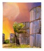 Sunset And Abandoned Oil Tanks Fleece Blanket