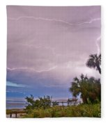 Sunset And Lightning Fleece Blanket