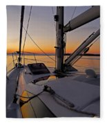Sunset At Burlington Harbour ... Fleece Blanket