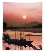 sunset at Mae Khong river Fleece Blanket