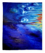 Sunset At Sea By Ted Jec. Fleece Blanket