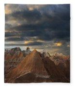 Sunset At The Badlands Fleece Blanket
