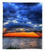 Sunset At The Bayonne Bridge Fleece Blanket