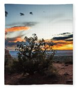 Sunset At Turrent Arch Fleece Blanket