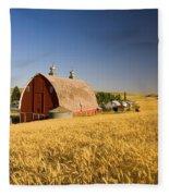 Sunset Barn And Wheat Field Steptoe Fleece Blanket