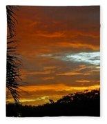 Sunset Behind The Palms Fleece Blanket