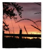 Sunset Bird Fleece Blanket