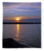 Sunset Egg Harbor Fleece Blanket