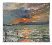 Sunset In Aegean Sea Fleece Blanket