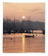 Sunset In The Harbor Crosshaven County Fleece Blanket