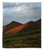Sunset Light Hitting The Mountains Fleece Blanket