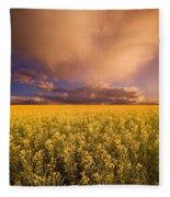 Sunset On A Canola Field Fleece Blanket