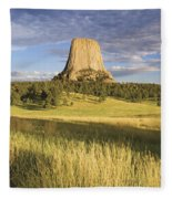 Sunset On Devils Tower Wyoming United Fleece Blanket