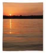 Sunset On Geist Reservoir In Lawrence In Fleece Blanket