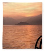 Sunset On Lake Como Fleece Blanket