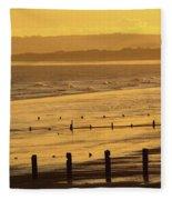 Sunset Over Beach In Winter Youghal Fleece Blanket