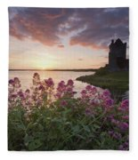 Sunset Over Dunguaire Castle, Kinvara Fleece Blanket