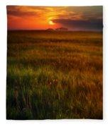 Sunset Over Field Fleece Blanket