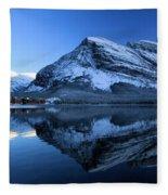 Sunset Over Many Glacier Lodge Fleece Blanket