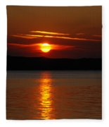 Sunset Over Silver Lake Sand Dunes Fleece Blanket
