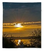 Sunset Over Steilacoom Bay Fleece Blanket