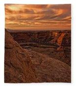 Sunset Over The Rim Of Canyon De Fleece Blanket