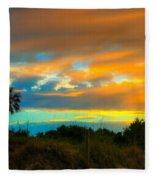 Sunset Palm Folly Beach  Fleece Blanket