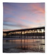 Sunset Pier San Simeon California 1 Fleece Blanket