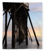 Sunset Pier California 3 Fleece Blanket