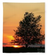 Square Photograph Of A Fiery Orange Sunset And Tree Silhouette Fleece Blanket