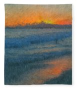Sunset Surfers Fleece Blanket