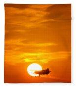 Sunset With Plane Fleece Blanket