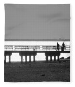 Sunsets On Coney Island In Black And White Fleece Blanket
