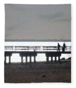 Sunsets On Coney Island Pier Fleece Blanket