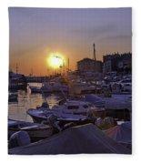 Sunsetting Over Rovinj 1 Fleece Blanket
