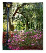 Sunshine Through Savannah Park Trees Fleece Blanket