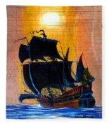 Sunship Galleon On Wood Fleece Blanket